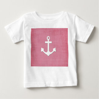 Vintage Pink Polka Dots White Nautical Anchor Baby T-Shirt