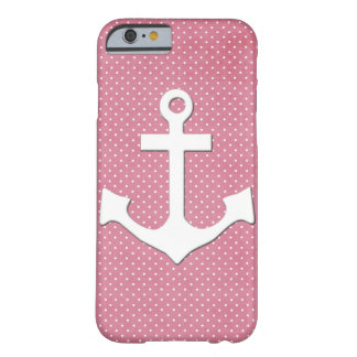 Vintage Pink Polka Dots White Nautical Anchor Barely There iPhone 6 Case