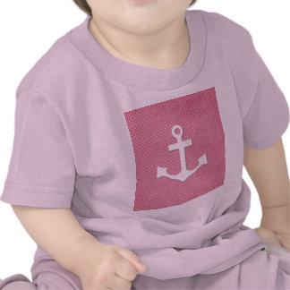 Vintage Pink Polka Dots White Nautical Anchor Shirts