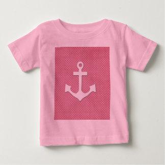 Vintage Pink Polka Dots White Nautical Anchor Tee Shirt