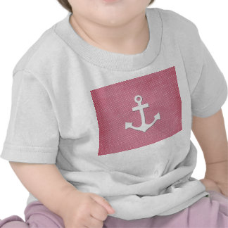 Vintage Pink Polka Dots White Nautical Anchor T-shirts
