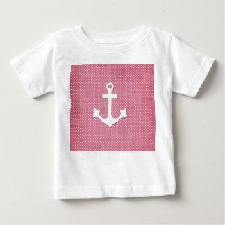 Vintage Pink Polka Dots White Nautical Anchor Tshirt