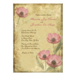 Vintage Pink Poppies Wedding Invitations