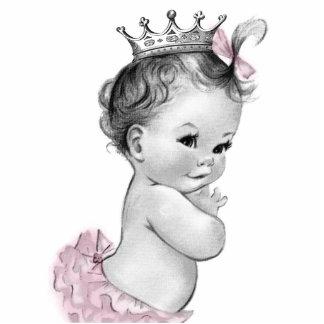 Vintage Pink Princess Baby Girl Shower Standing Photo Sculpture