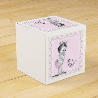 Vintage Pink Princess Baby Shower Favour Box