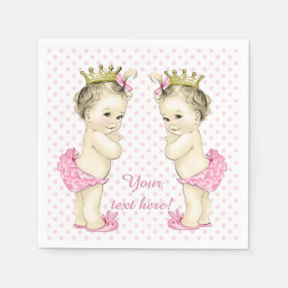 Vintage Pink Princess Twin Baby Girl Shower Disposable Napkins