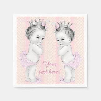 Vintage Pink Princess Twin Baby Girl Shower Paper Napkin
