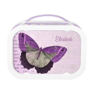 Vintage pink purple butterfly illustration name lunch box