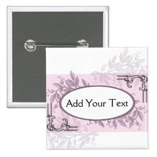 Vintage Pink Purple Floral Business Pinback Buttons