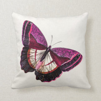 Vintage Pink Red Butterfly 1896 Blank Template Throw Pillow