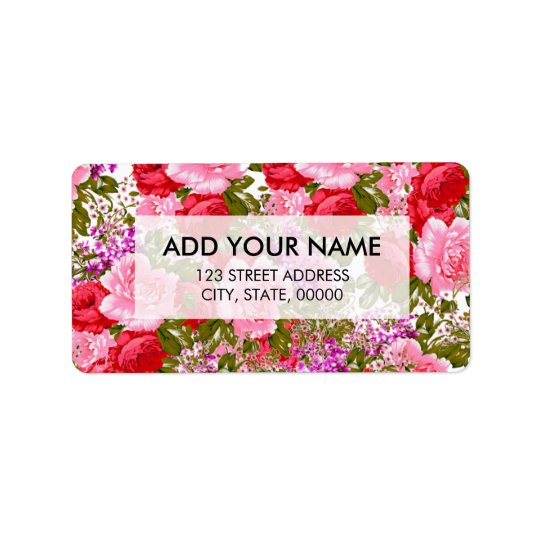 Vintage pink red green roses bohemian floral address