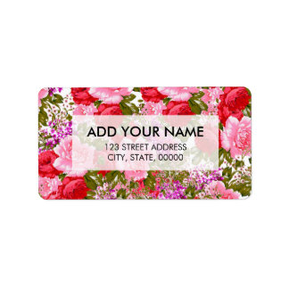 Vintage pink red green roses bohemian floral label