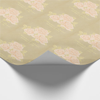 Vintage pink romantic roses with golden fleurdelis wrapping paper