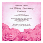 Vintage Pink Rose 50th Wedding Anniversary Personalised Announcements