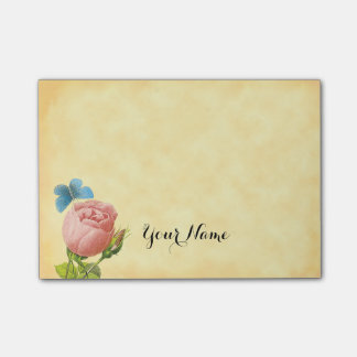 Vintage Pink Rose and Blue Moth Custom Post it Post-it® Notes