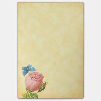 Vintage Pink Rose and Blue Moth Post it Post-it® Notes