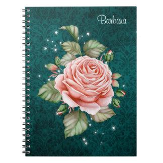 Vintage Pink Rose and Elegant Teal Pattern Notebooks