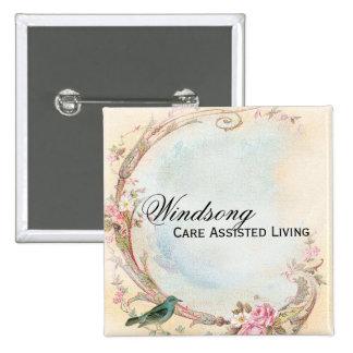 Vintage Pink Rose and Robin Wedding Business 15 Cm Square Badge