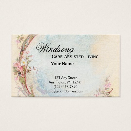 Vintage Pink Rose and Robin Wedding Business Business Card