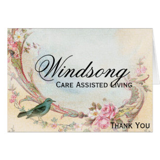 Vintage Pink Rose and Robin Wedding Business Note Card