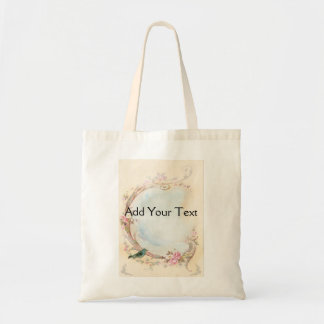 Vintage Pink Rose and Robin Wedding Business Tote Bag
