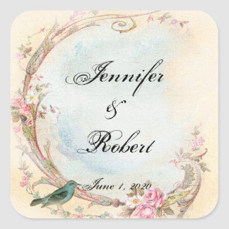 Vintage Pink Rose and Robin Wedding Envelope Seal Square Sticker