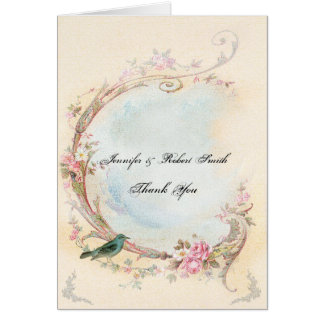 Vintage Pink Rose and Robin Wedding Thank You Greeting Card