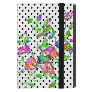 Vintage Pink rose black and white polka-dots iPad Mini Case
