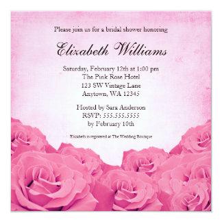 Vintage Pink Rose Bridal Shower 13 Cm X 13 Cm Square Invitation Card