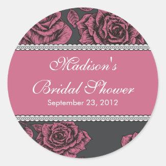 Vintage Pink Rose Bridal Shower Sticker