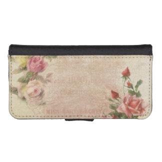 Vintage Pink Rose Collage iPhone SE/5/5s Wallet Case