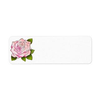 Vintage Pink Rose Drawing Return Address Label