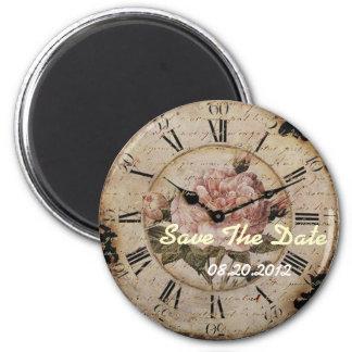 Vintage Pink Rose Floral Clock Wedding Favor 6 Cm Round Magnet