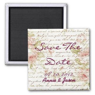Vintage Pink Rose Floral Clock Wedding Favor Square Magnet
