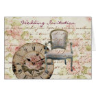 Vintage Pink Rose Floral steampunk Wedding Card