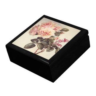 Vintage Pink Rose Flowers Bumblebee Bee Gift Box