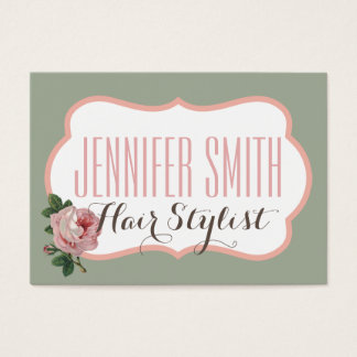 Vintage Pink Rose Green Appointment Hairdresser Business Card