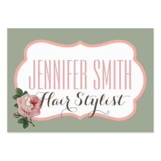 Vintage Pink Rose Green Appointment Hairdresser Pack Of Chubby Business Cards
