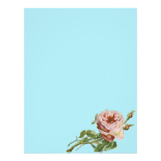 Vintage Pink Rose on Pale Aqua Personalized Flyer