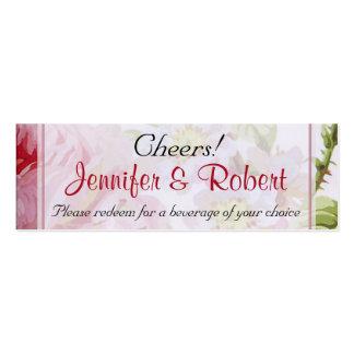 Vintage Pink Rose Posh Wedding Drink Tickets Business Card