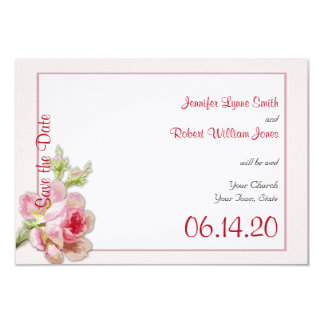 Vintage Pink Rose Posh Wedding Save the Date 9 Cm X 13 Cm Invitation Card