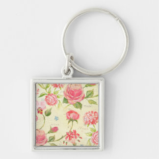 Vintage Pink Rose Rustic Cottage Chic French Key Chain