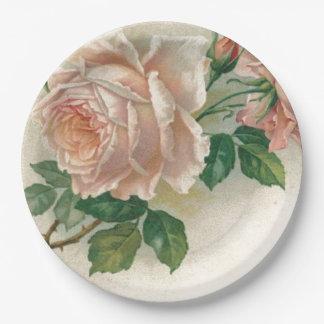 Vintage Pink Rose 9 Inch Paper Plate