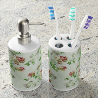 Vintage Pink Rose Soap Dispenser And Toothbrush Holder
