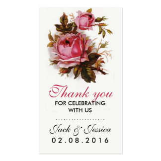 Vintage Pink Rose Thank You Tag for Wedding Business Card