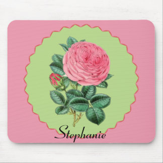 Vintage Pink Rose w/Pink Spiked Circle Frame Mouse Pad
