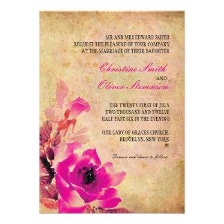 Vintage Pink Rose Wedding Invitation