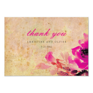 Vintage Pink Rose Wedding Thank You Card 9 Cm X 13 Cm Invitation Card
