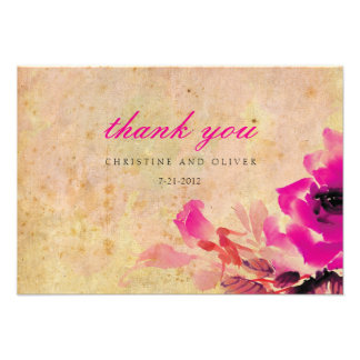 Vintage Pink Rose Wedding Thank You Card Custom Announcements