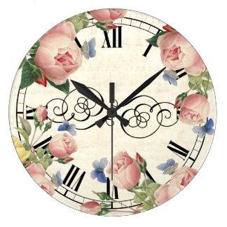 Vintage Pink Roses and Blue Butterflies Clocks